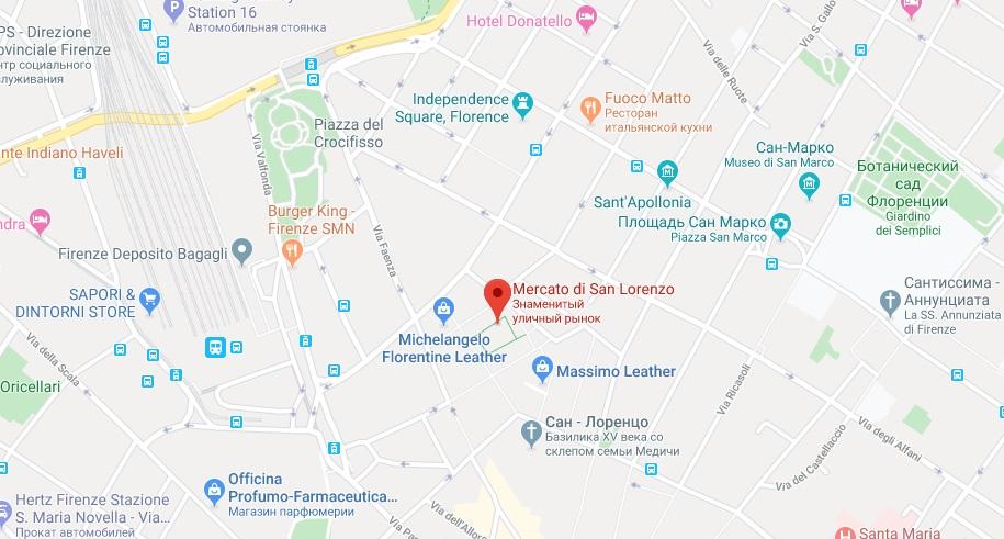 Mercato Centrale на карте Флоренции