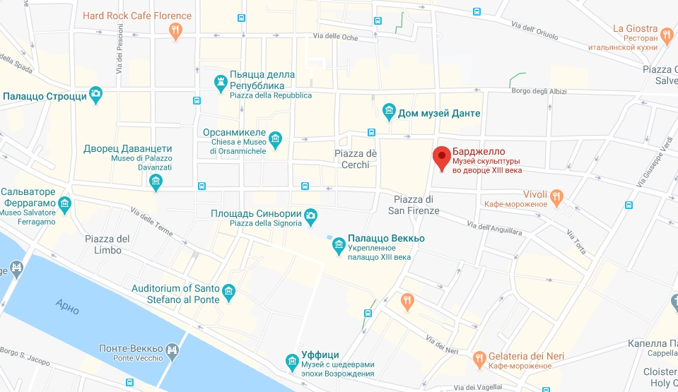 Барджелло на карте Флоренции