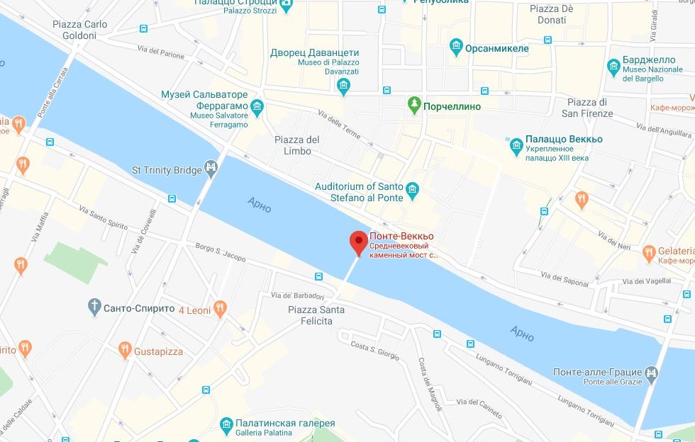 Понте Веккьо на карте Флоренции