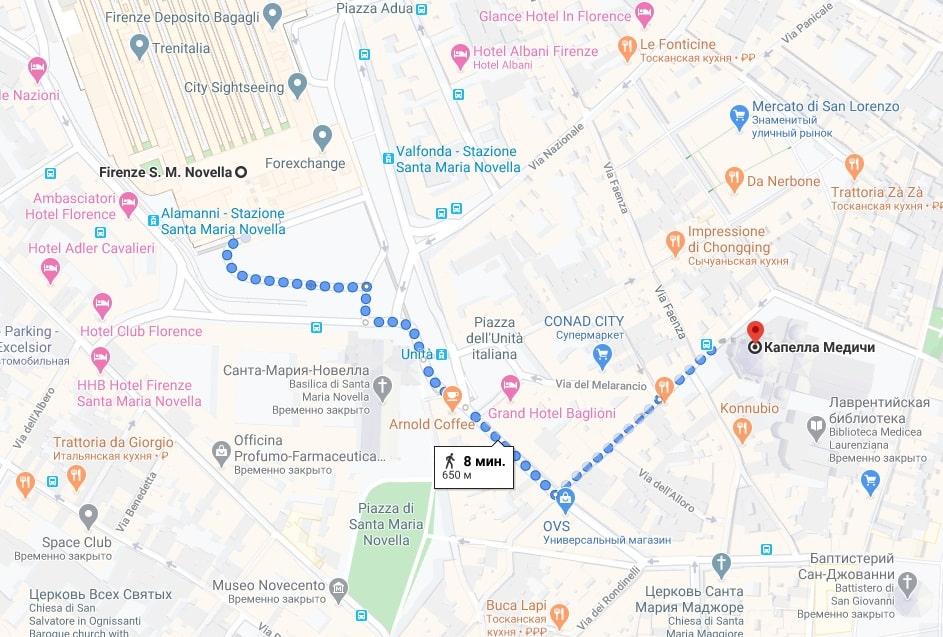 Капелла Медичи на карте Флоренции