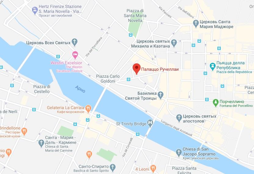 Палаццо Ручеллаи на карте Флоренции