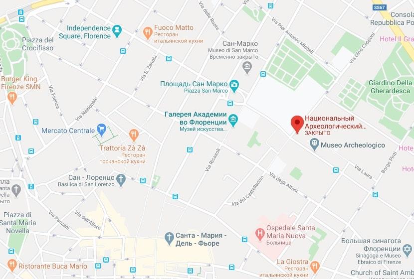 Национальный археологический музей на карте Флоренции