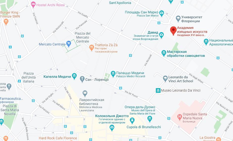 Галерея Академии на карте Флоренции