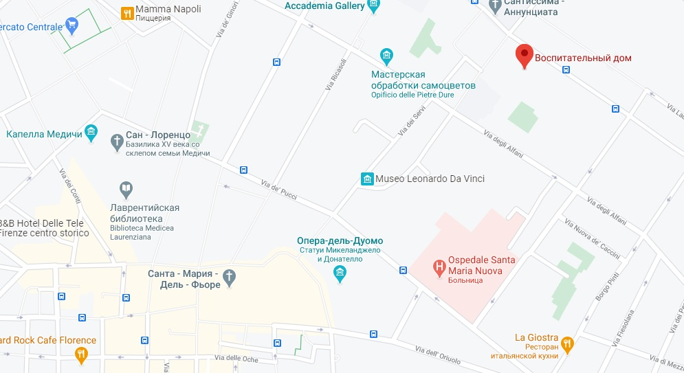 Ospedale degli Innocenti на карте Флоренции