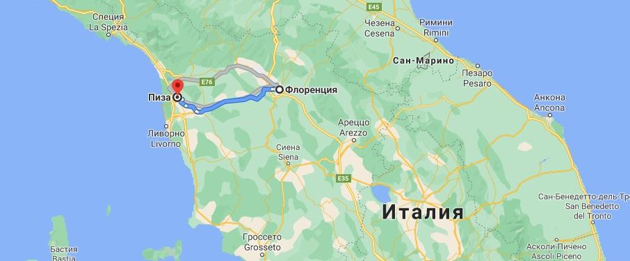 Маршрут Флоренция-Пиза на карте Италии