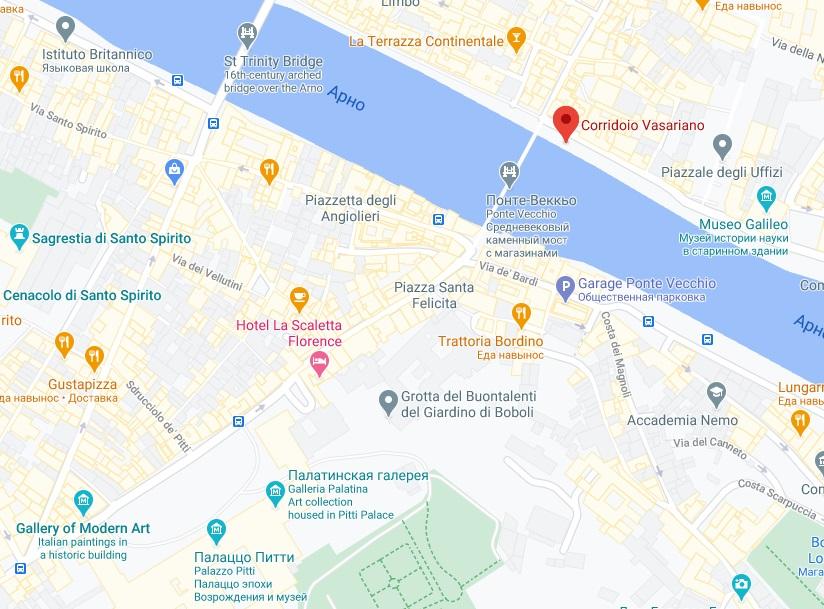 Коридор Вазари на карте Флоренции
