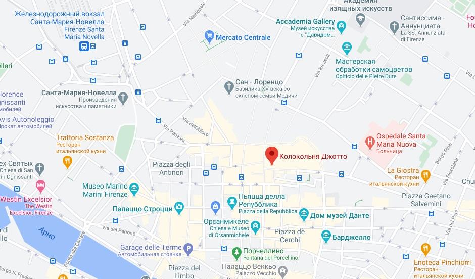 Колокольня Джотто на карте Флоренции