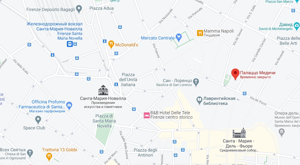 Дворец Медичи-Риккарди на карте Флоренции