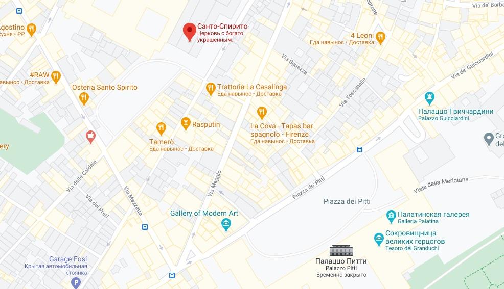 Санто-Спирито на карте Флоренции