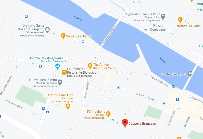 Капелла Бранкаччи на карте Флоренции